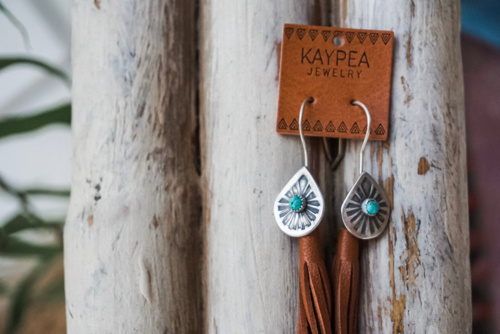 Stamped Teardrop Turquoise Leather Tassel Earrings