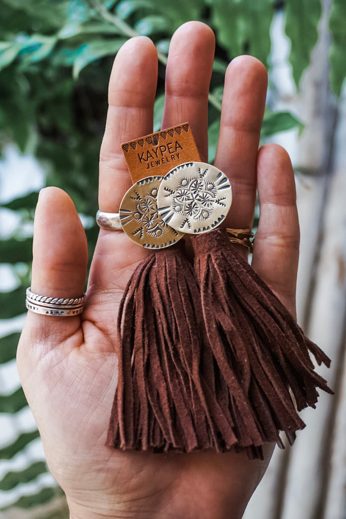 Boho Brass Medallion Suede Tassel Earrings