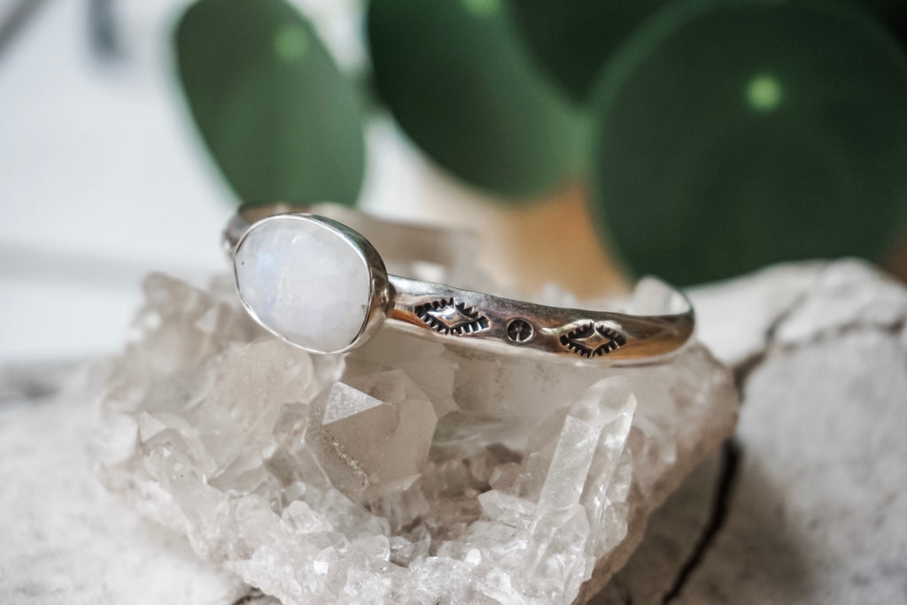 Faceted Moonstone Cuff Bracelets