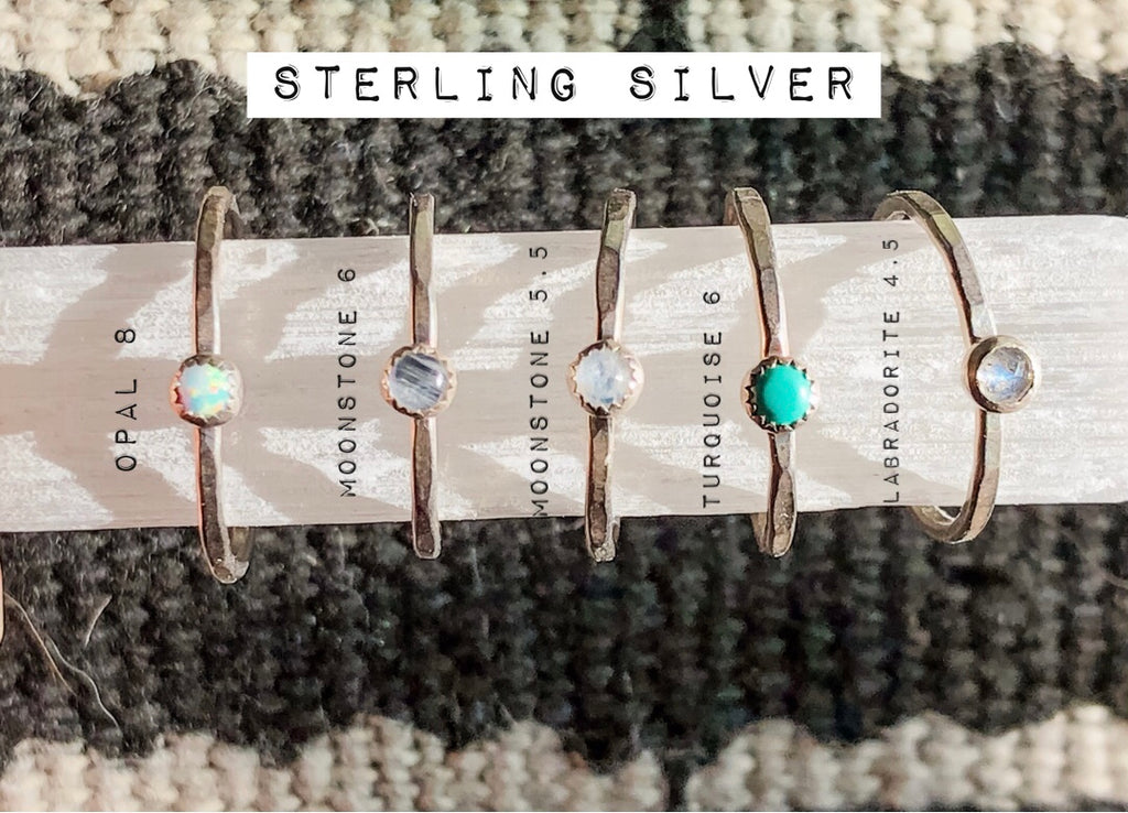 Sterling Silver Stone Hammered Stackers