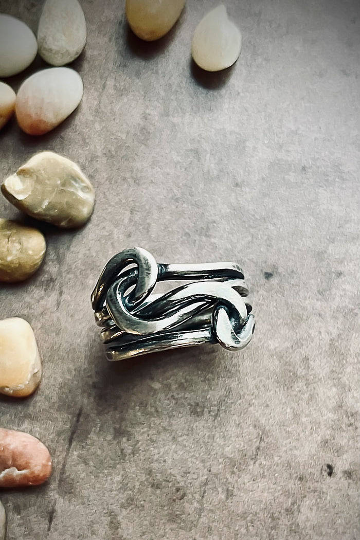 handmade sterling silver knot rings and stacking rings