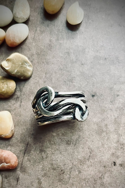 sterling silver knot and stacking rings