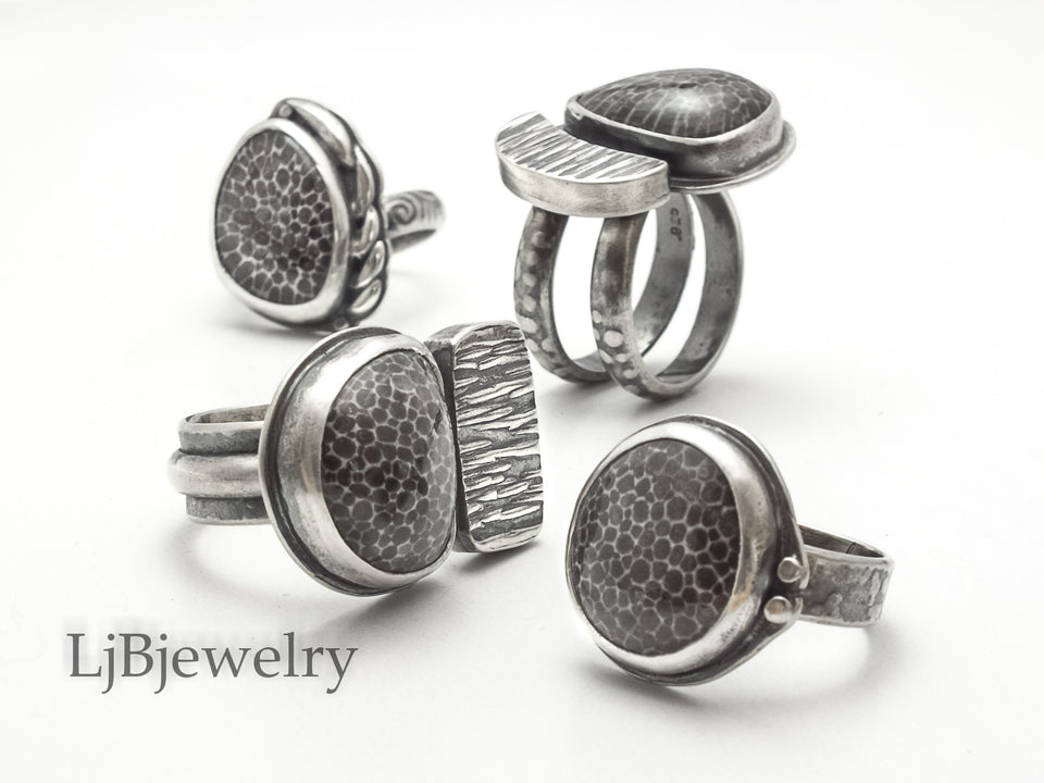 fossilized coral statement rings