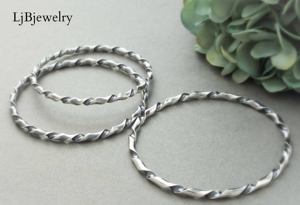 silver twisted stacking bangle bracelet