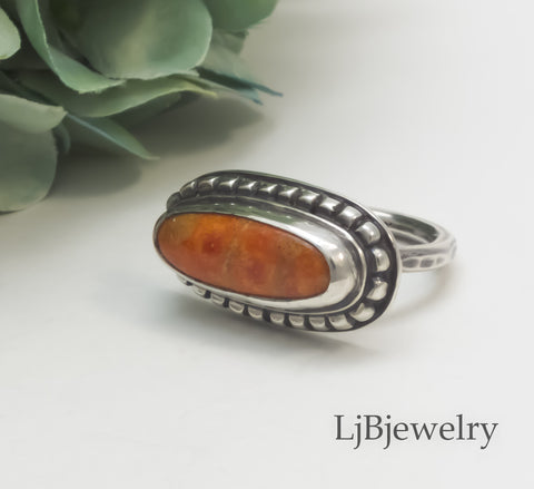 Silver Statement Ring With Apple Coral