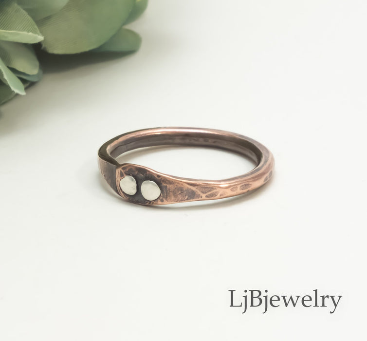 copper and silver stacking ring