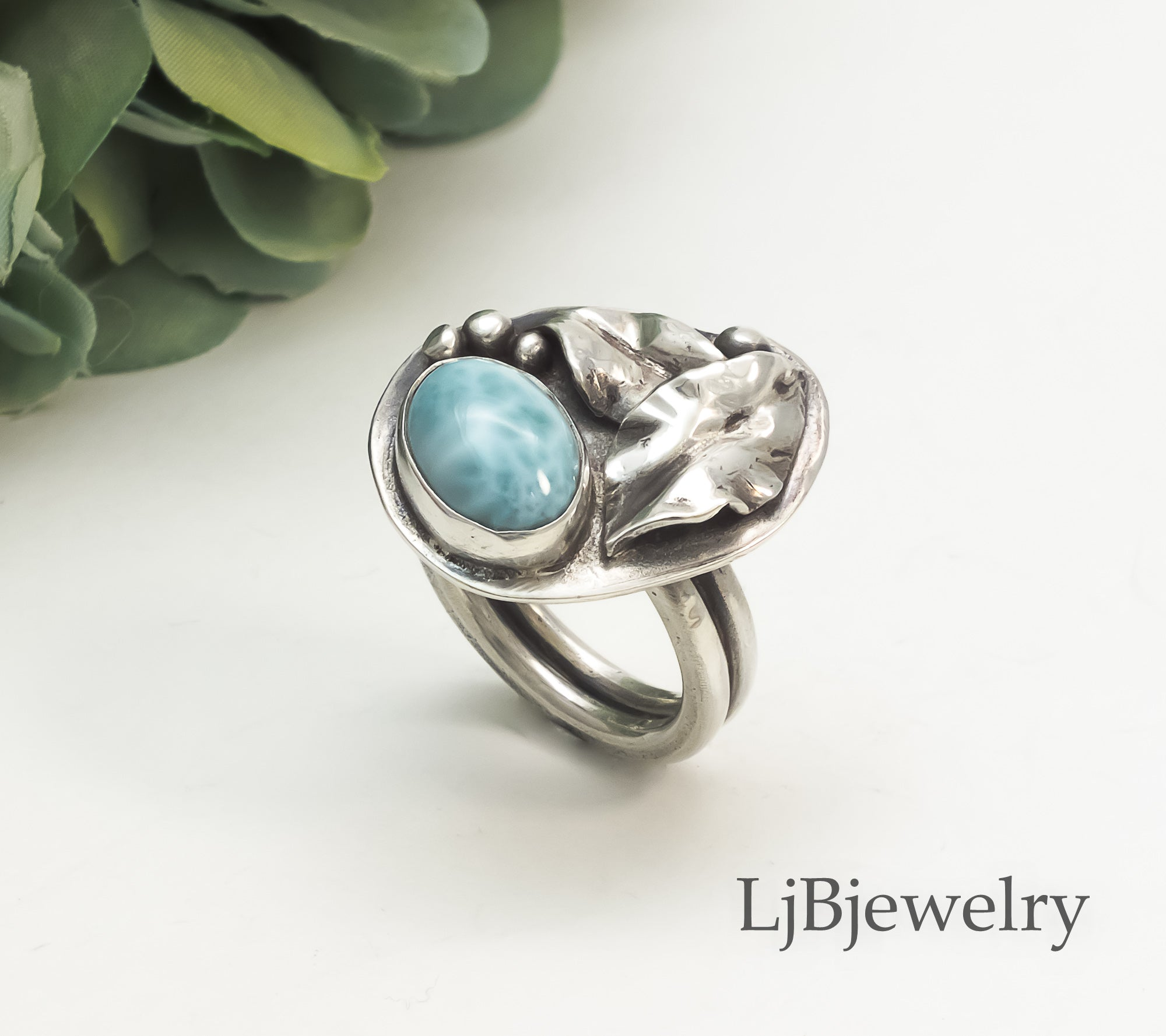 larimar silver oak ring
