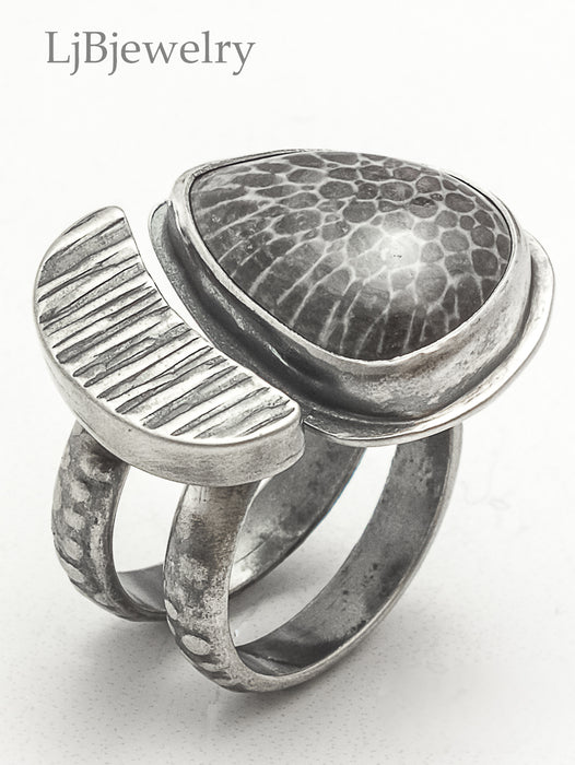Stingray Coral Fossil Double Sided Silver Statement Ring