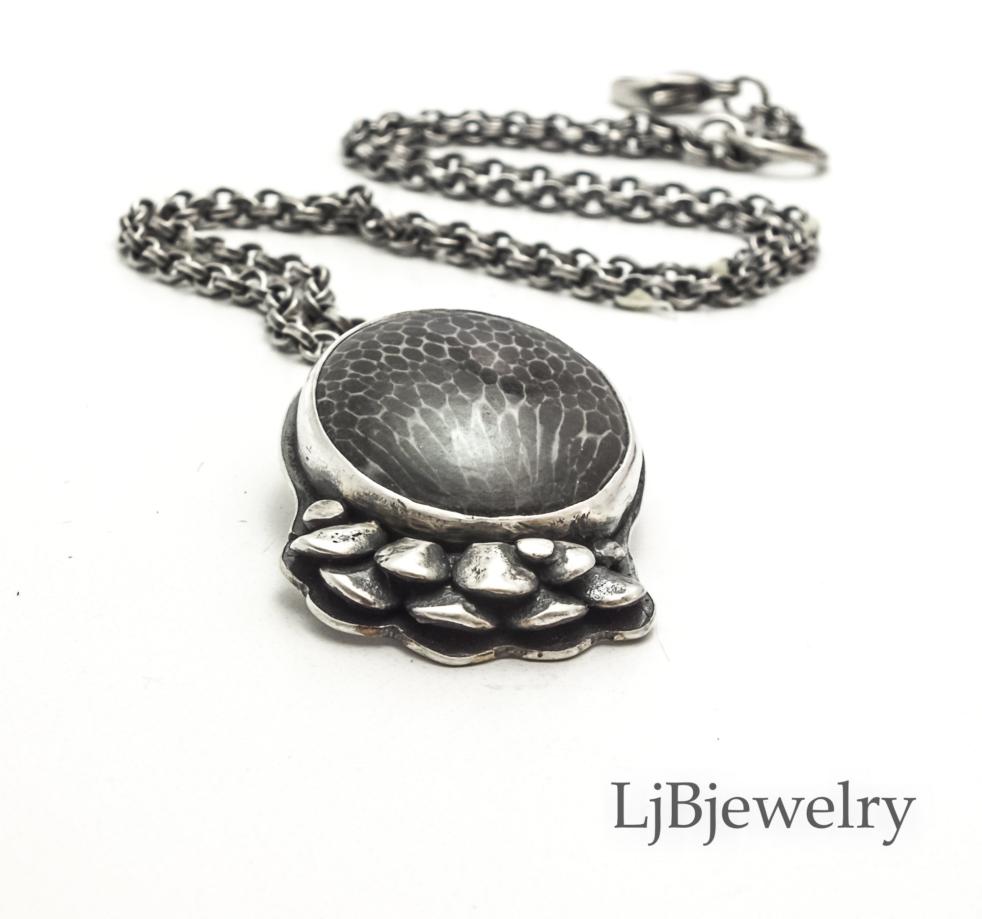 Stingray Coral Fossil Statement necklace