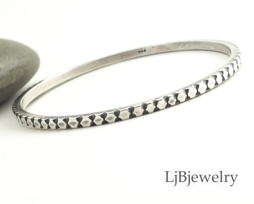 carved sterling silver stacking bangle bracelet