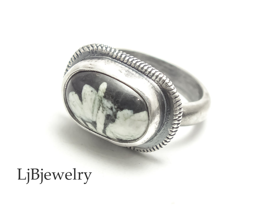 chinese writing stone sterling silver ring