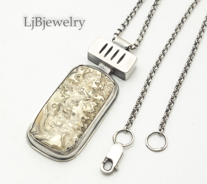 Crazy Lace Agate Silver Pendant Necklace