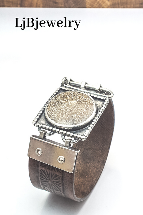 Silver Dino Bone Fossil Leather Statement Cuff Bracelet