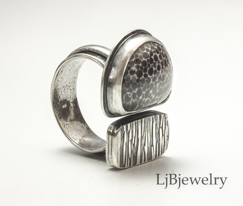 fossilized coral silver statement ring