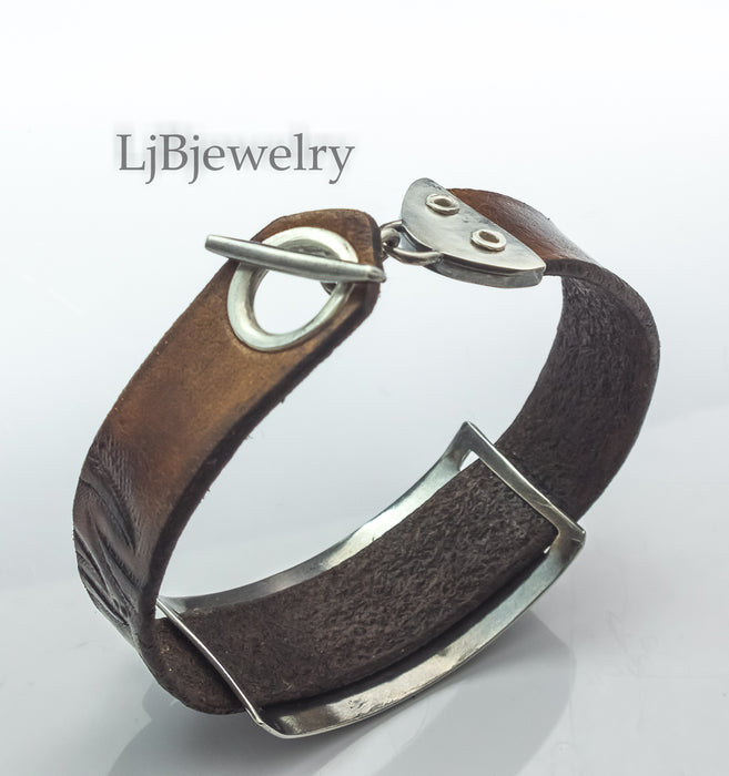 leather and silver whale bracelet