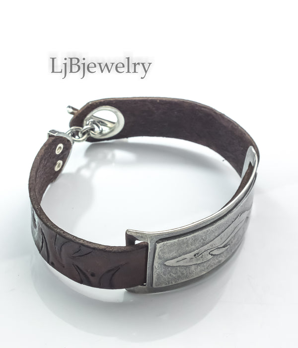 leather whale bracelet cuff