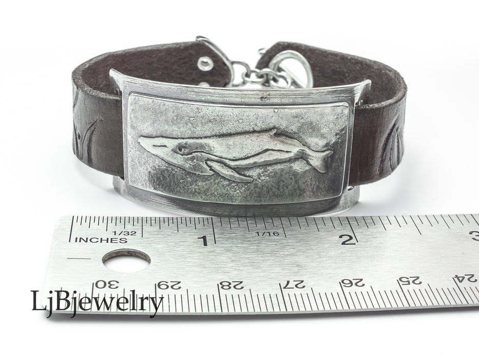 silver whale leather bracelet