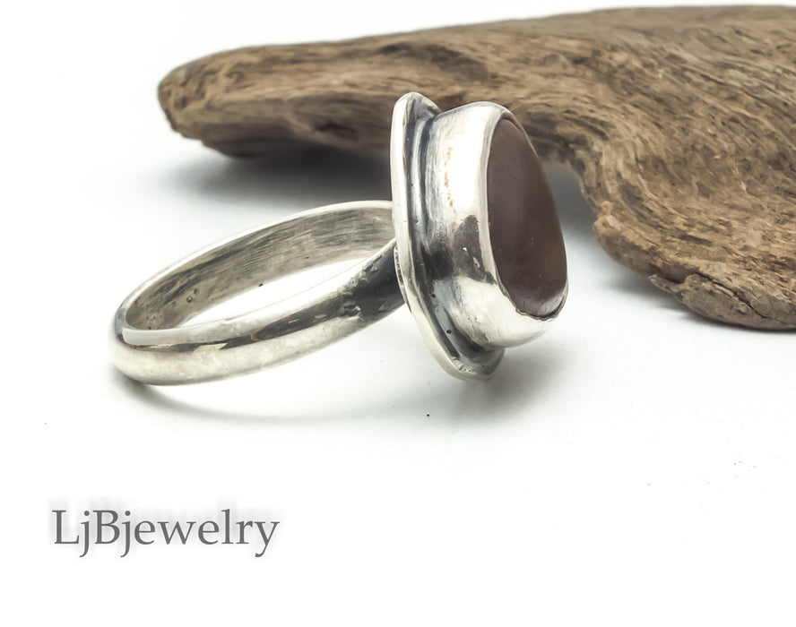 red beach stone silver ring