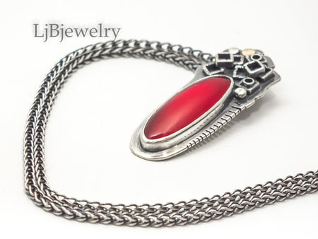 red rosarita sterling silver pendant necklace