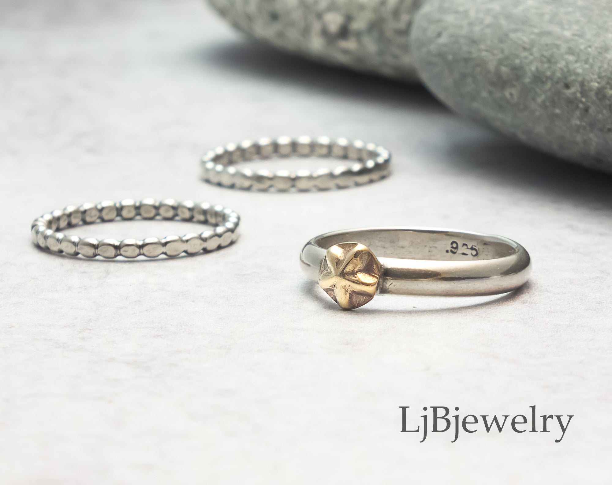 silver and gold star stacking ring set