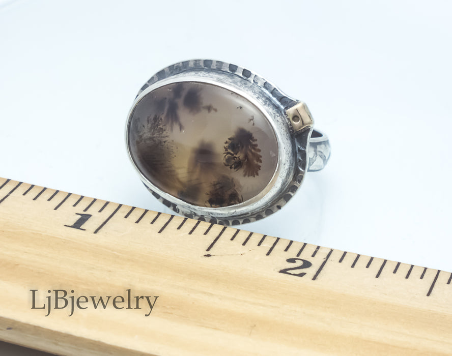 Silver Dendritic Agate Ring