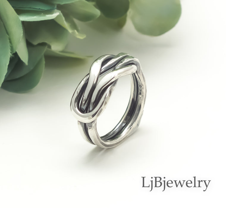 sterling silver infinity knot ring, love knot ring