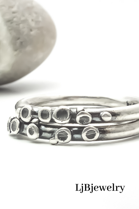 Sterling Silver Pebble Stacking Ring