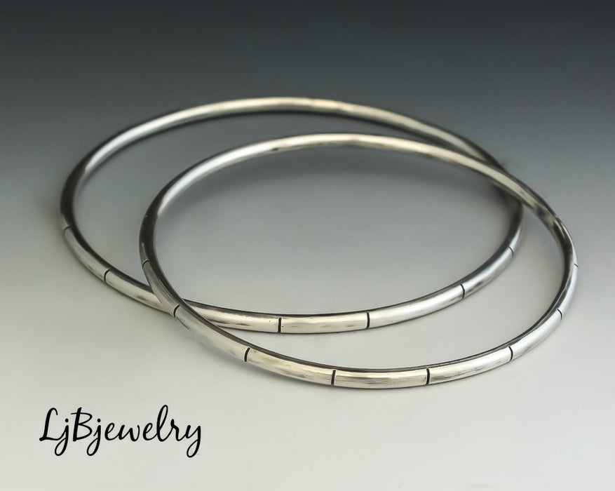 sterling silver stacking bangle bracelet