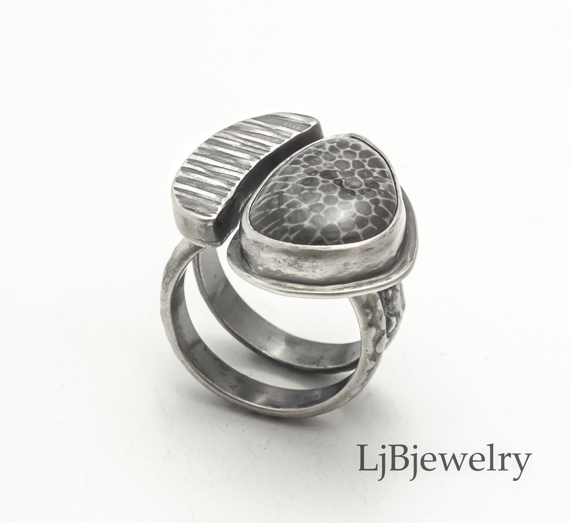 Stingray Coral Fossil Statement Ring