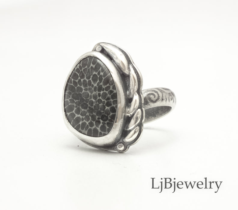 Coral Fossil Silver Statement Ring