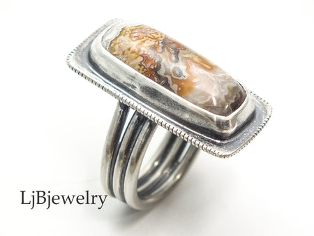 sterling silver agate statement ring