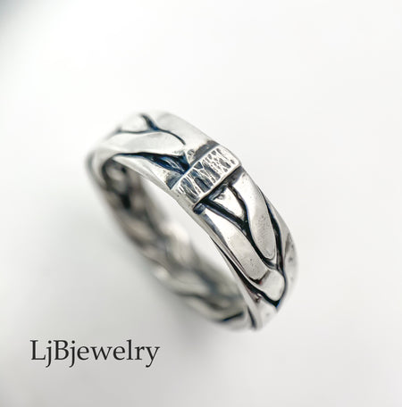 sterling silver braided rope stacking ring