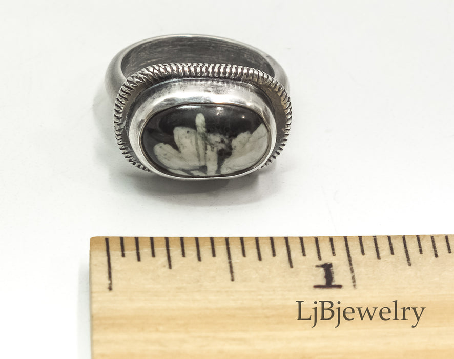 sterling silver ring with chinese writing stone cabochon