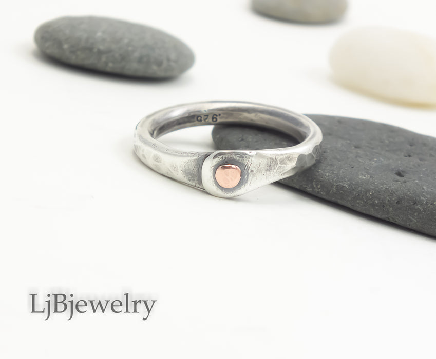 sterling silver stacking thumb ring