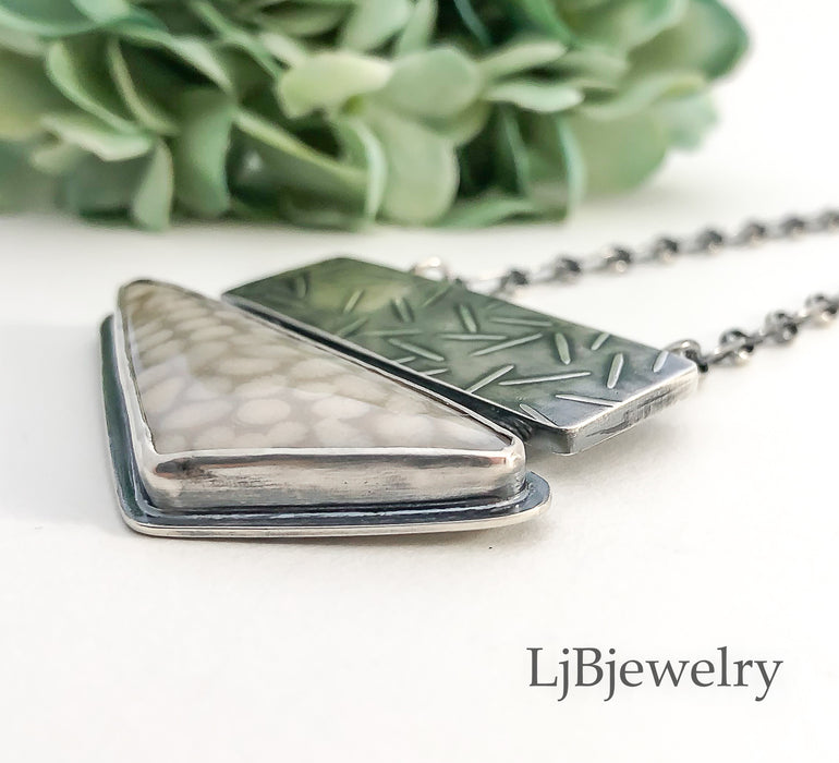 fossilized coral silver statement pendant