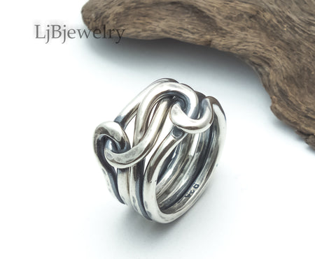 sterling silver double knot ring