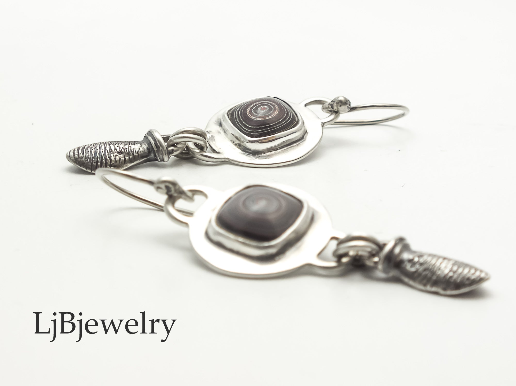 sterling silver fordite dangle earrings