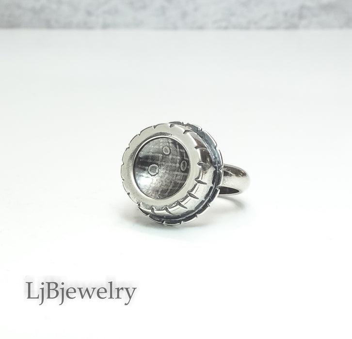 Silver Hollow Form Statement Ring