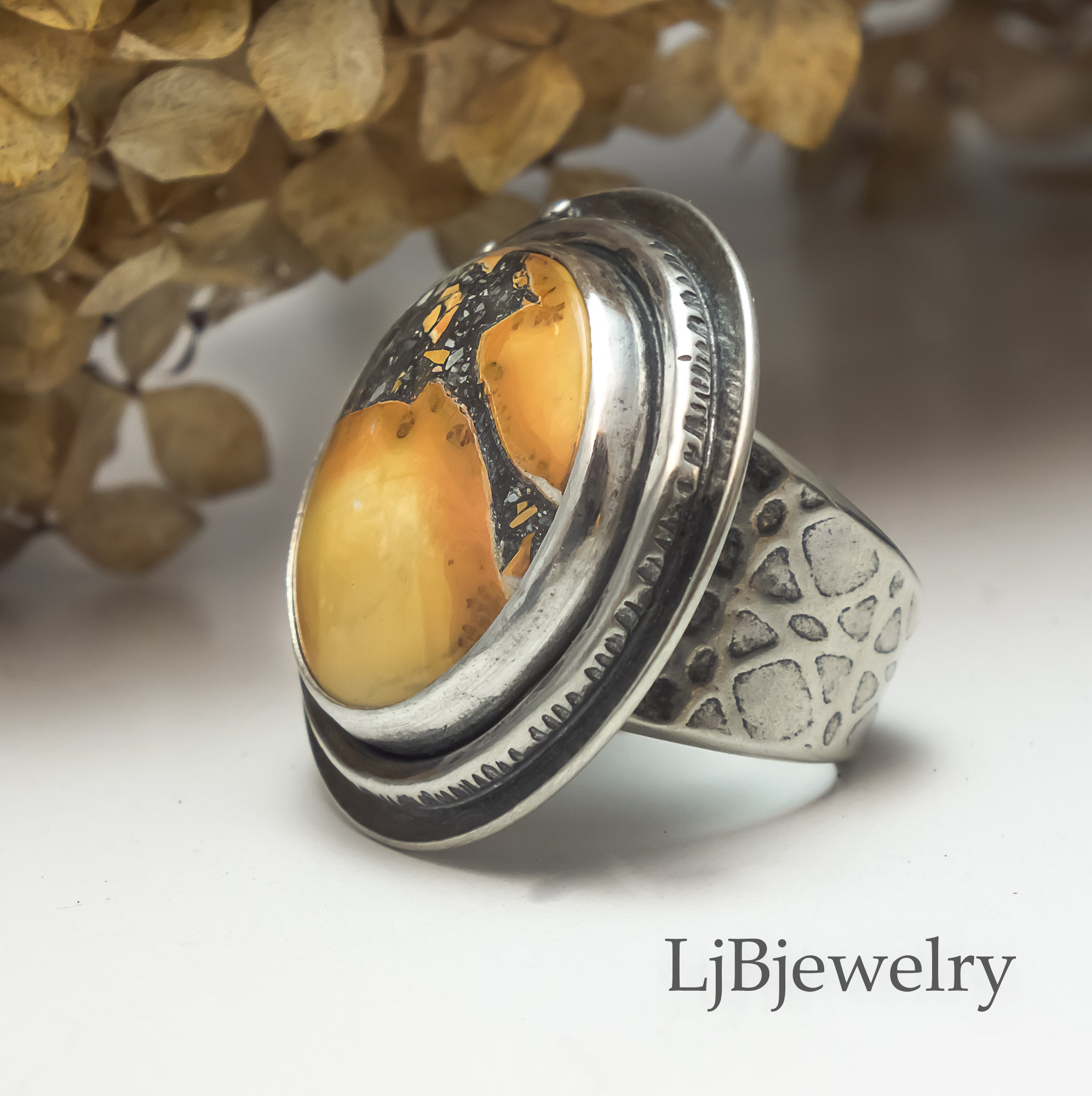 sterling silver maligano jasper statement ring