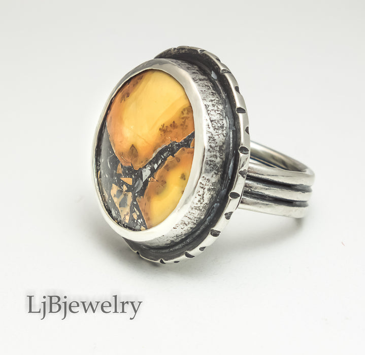 silver maligano jasper statement ring
