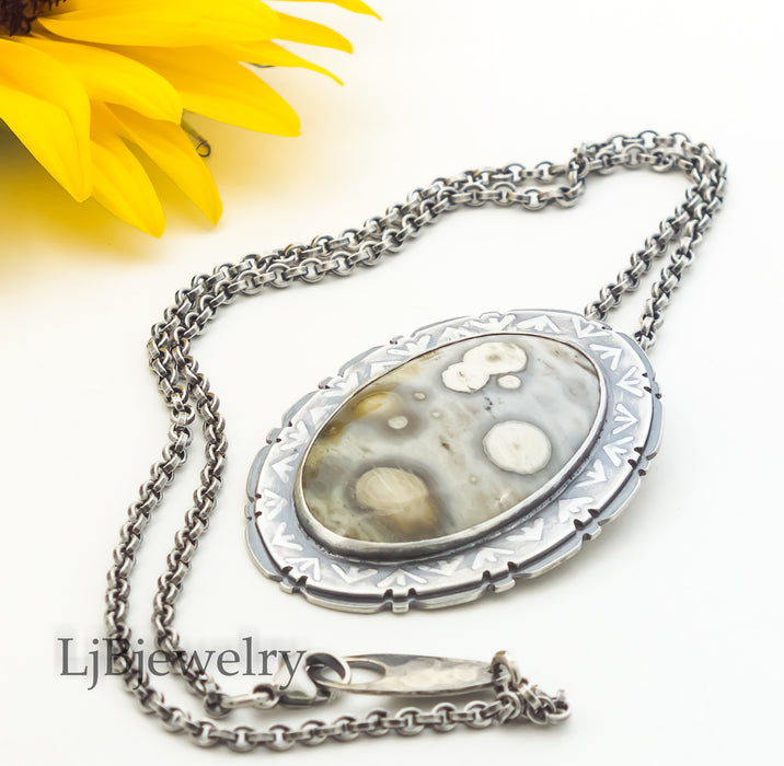 Sterling Silver Statement Pendant with Ocean Jasper