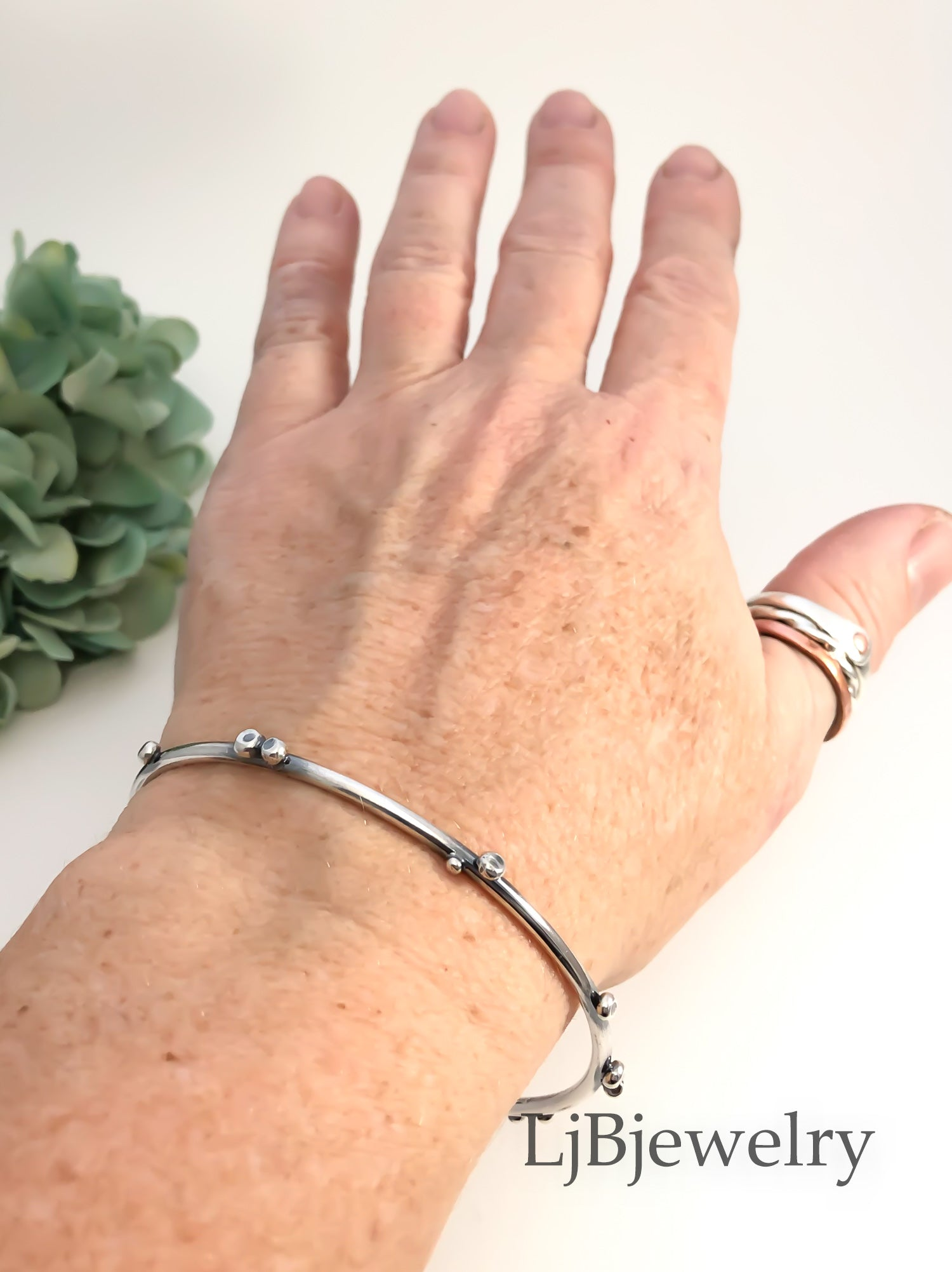 sterling silver stacking pebble bangle