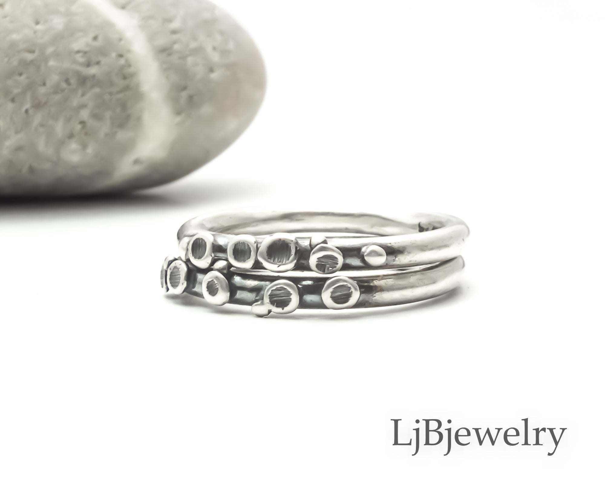 sterling silver stacking pebble ring