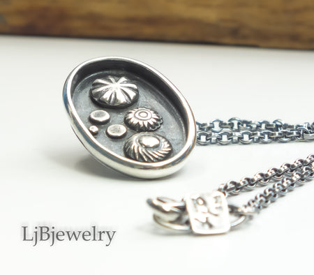 sterling silver statement pendant necklace