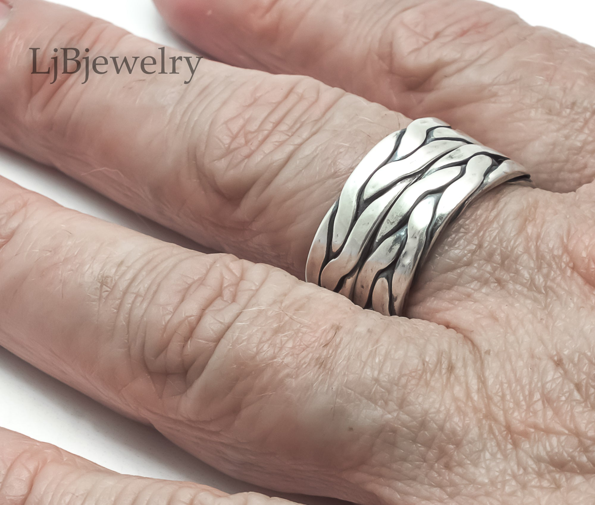 sterling silver braided rope ring