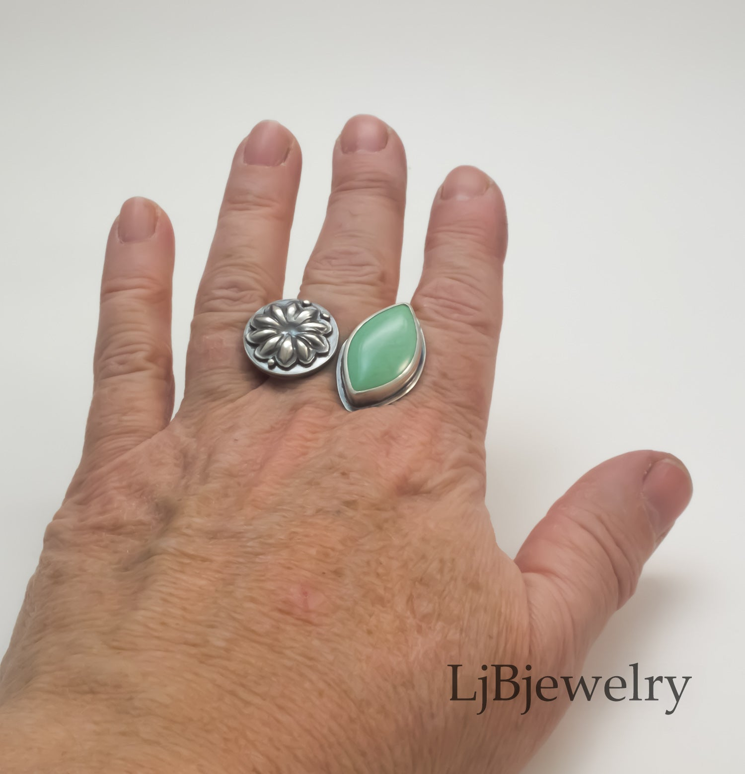 variscite silver statement ring