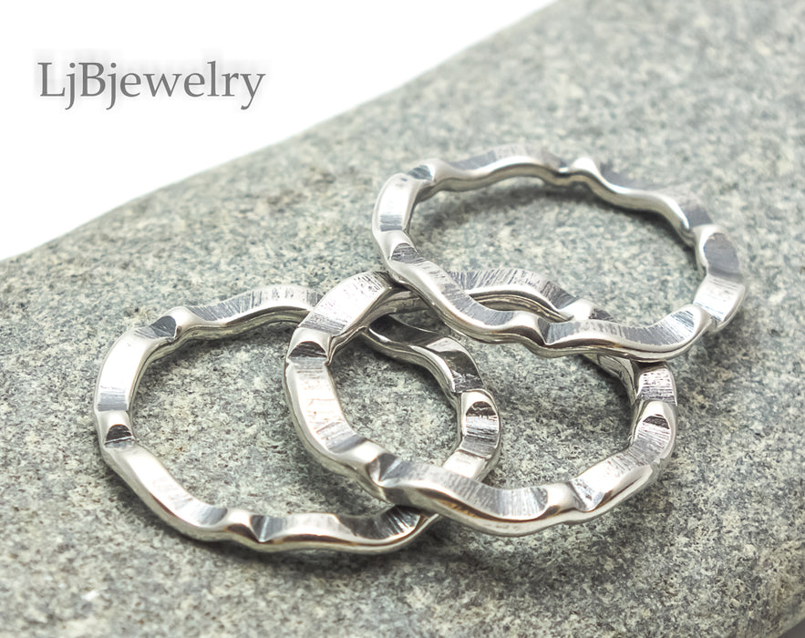 silver stacking wave rings