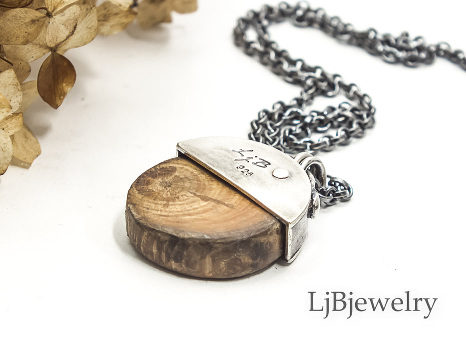 RESERVED FOR SUSAN Wood Slice Silver Forest Pendant Necklace