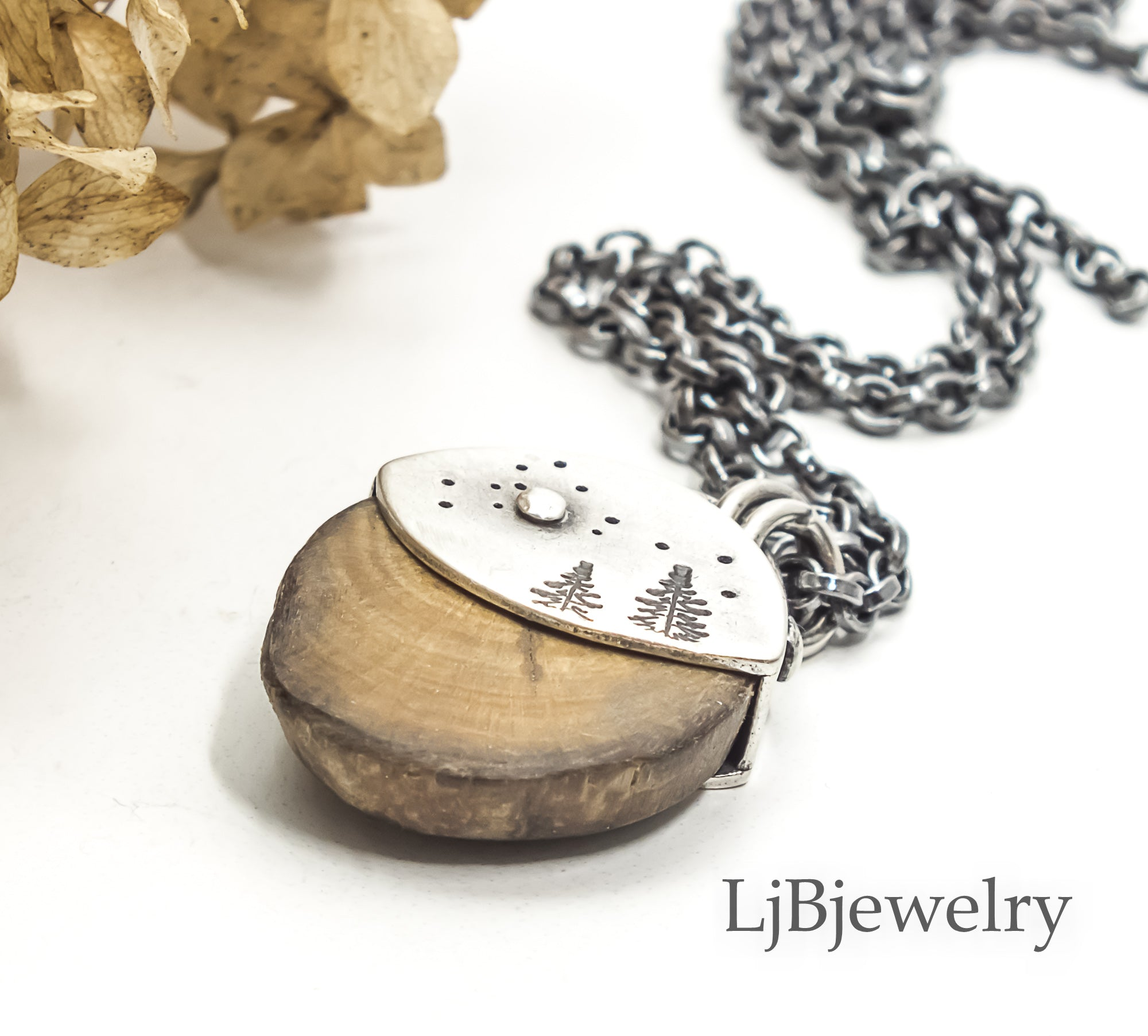 silver forest wood slice pendant