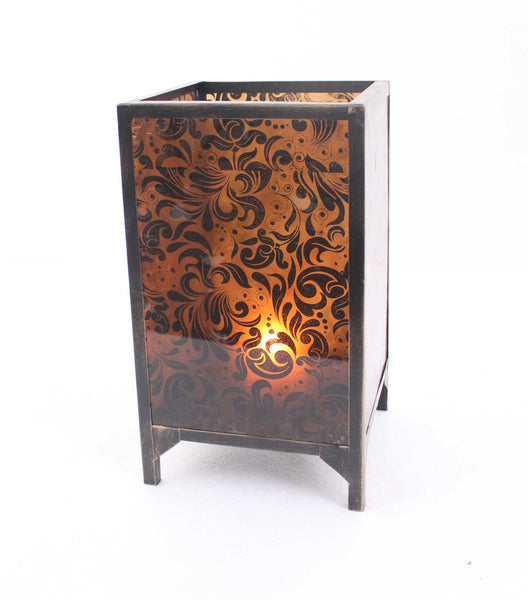 Vintage Cuboid Candle Holder with Floral Pattern